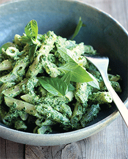 A photo of creamy kale pesto penne