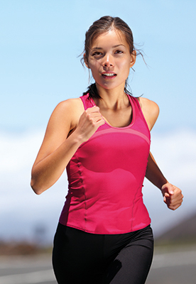 A photo of a woman running