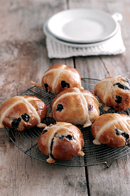 A picture of some hot cross buns